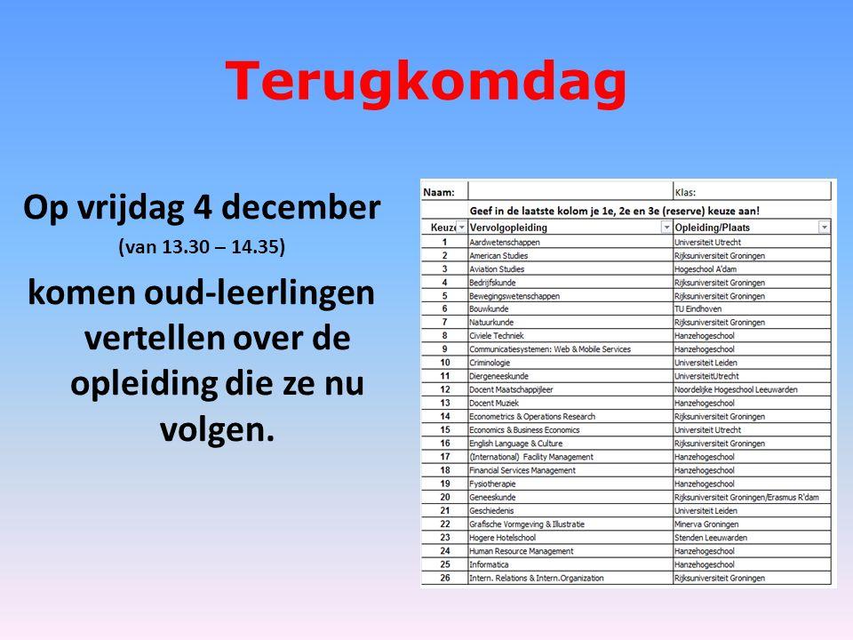 Terugkomdag Op vrijdag 4 december (van 13.30 – 14.35) komen oud-leerlingen vertellen over de opleiding die ze nu volgen.