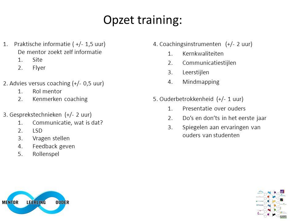 Opzet training: 4. Coachingsinstrumenten (+/- 2 uur) 1.Kernkwaliteiten 2.Communicatiestijlen 3.Leerstijlen 4.Mindmapping 5. Ouderbetrokkenheid (+/- 1