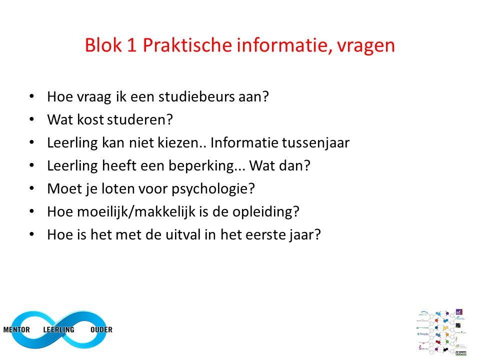 Blok 1 Praktische informatie, vragen Hoe vraag ik een studiebeurs aan? Wat kost studeren? Leerling kan niet kiezen.. Informatie tussenjaar Leerling he