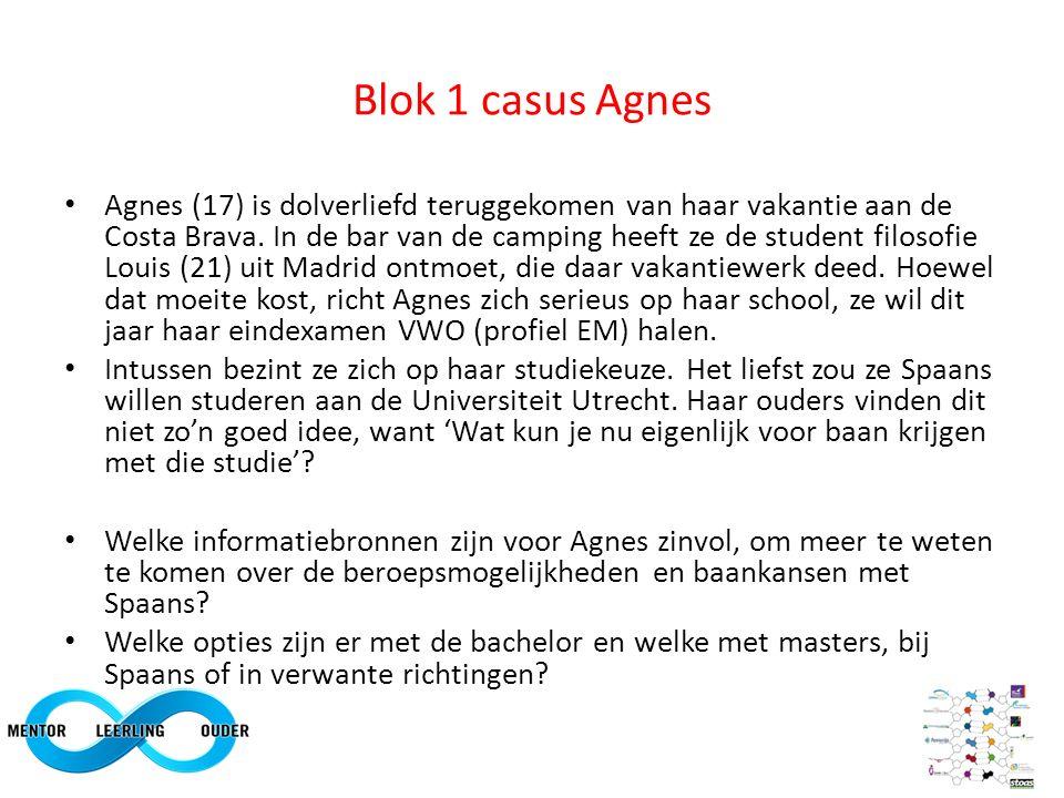 Blok 1 casus Agnes Agnes (17) is dolverliefd teruggekomen van haar vakantie aan de Costa Brava. In de bar van de camping heeft ze de student filosofie