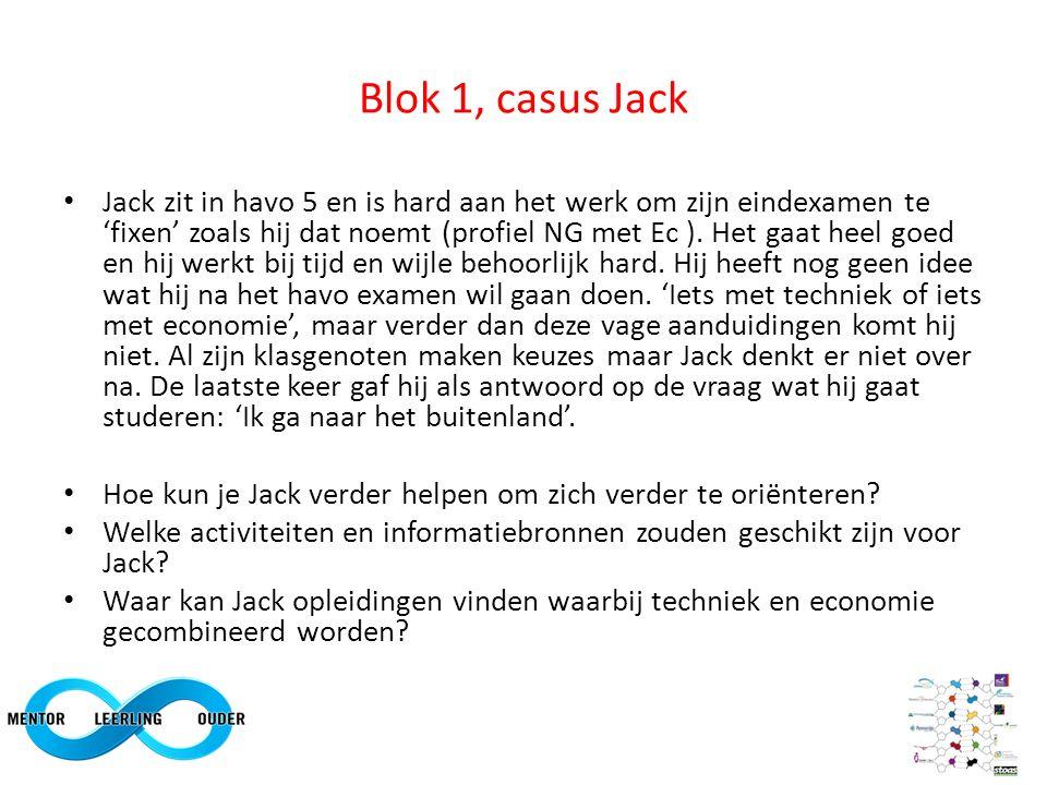 Blok 1, casus Jack Jack zit in havo 5 en is hard aan het werk om zijn eindexamen te 'fixen' zoals hij dat noemt (profiel NG met Ec ).