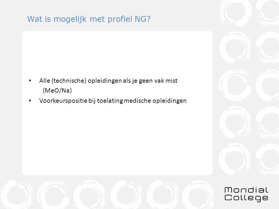 Wat is mogelijk met profiel NG? Alle (technische) opleidingen als je geen vak mist (MeO/Na) Voorkeurspositie bij toelating medische opleidingen