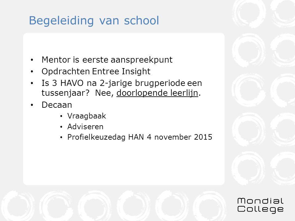 Begeleiding van school Mentor is eerste aanspreekpunt Opdrachten Entree Insight Is 3 HAVO na 2-jarige brugperiode een tussenjaar? Nee, doorlopende lee