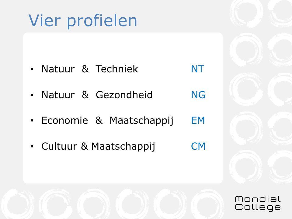Vier profielen Natuur & TechniekNT Natuur & GezondheidNG Economie & MaatschappijEM Cultuur & MaatschappijCM