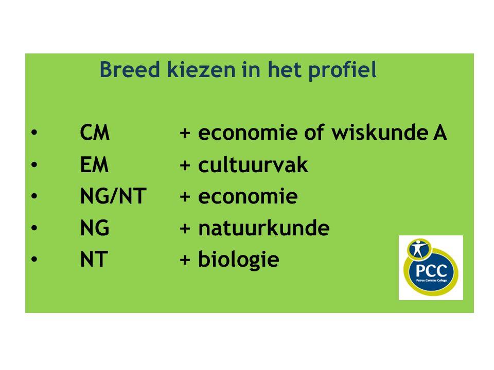Breed kiezen in het profiel CM+ economie of wiskunde A EM+ cultuurvak NG/NT+ economie NG+ natuurkunde NT+ biologie