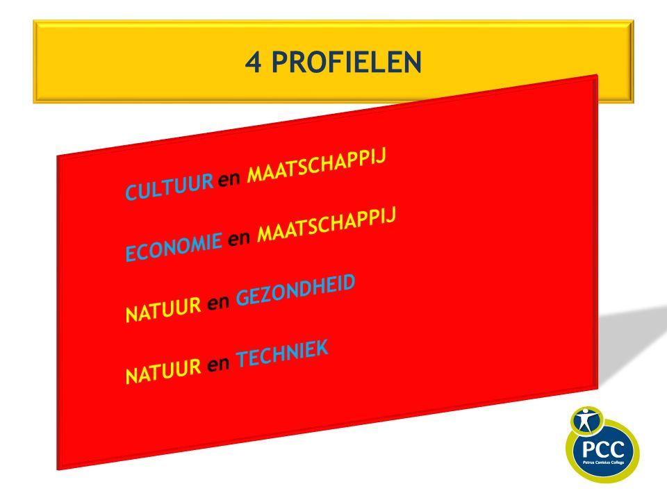 Vier typen vakken 1.gemeenschappelijke vakken 2. profiel - vakken (verplicht) 3.