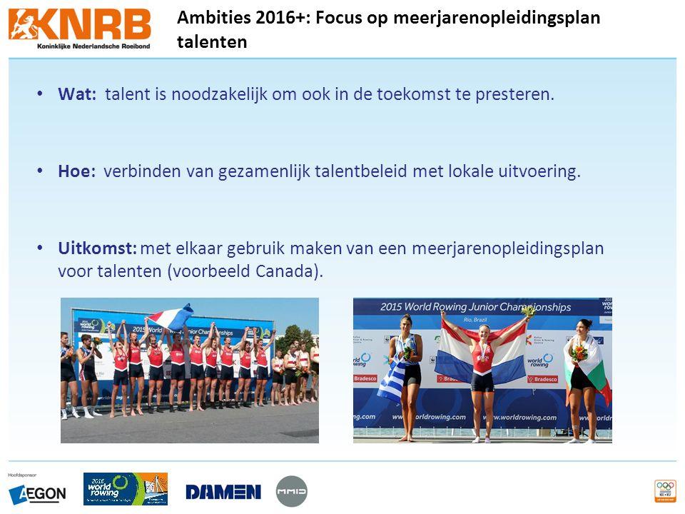 Ambities 2016+: Focus op meerjarenopleidingsplan talenten Wat: talent is noodzakelijk om ook in de toekomst te presteren.