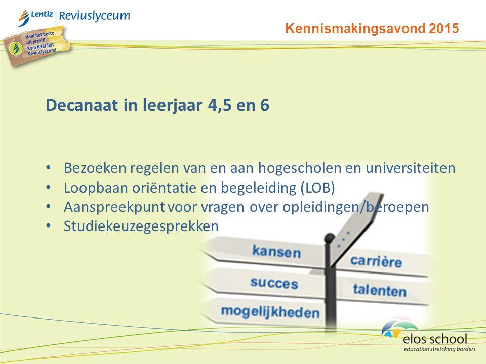 Decanaat in leerjaar 4,5 en 6 Bezoeken regelen van en aan hogescholen en universiteiten Loopbaan oriëntatie en begeleiding (LOB) Aanspreekpunt voor vr