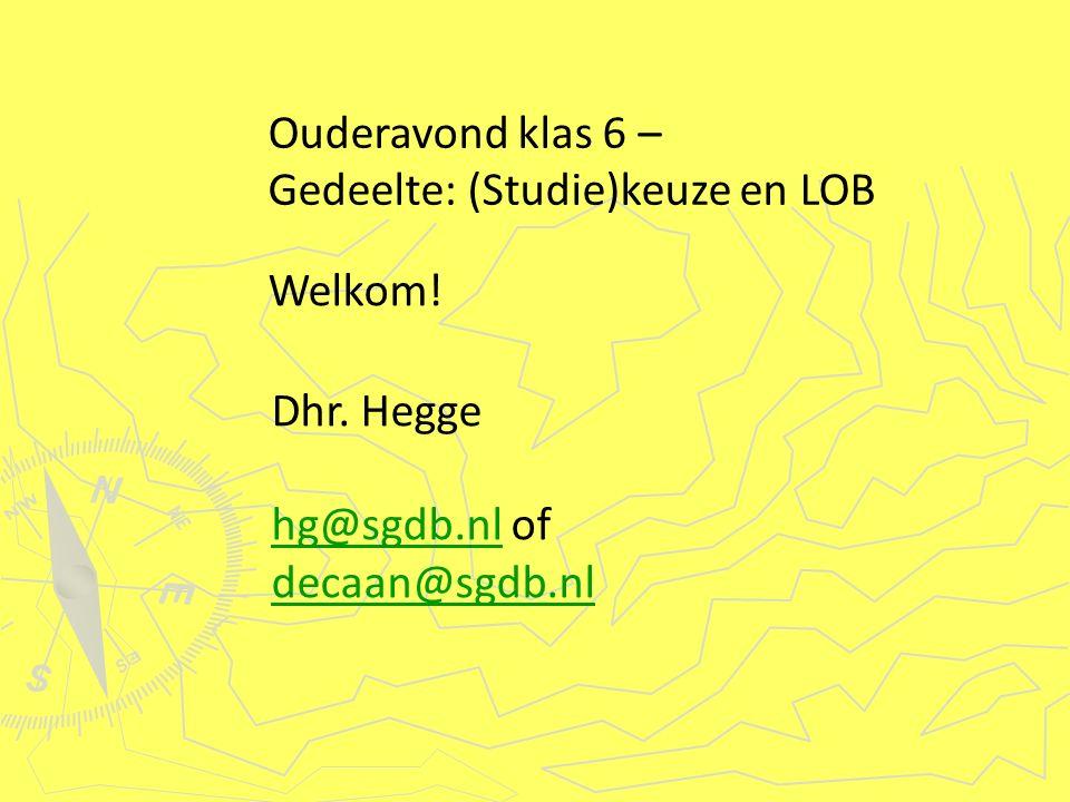 Welkom.Ouderavond klas 6 – Gedeelte: (Studie)keuze en LOB Dhr.