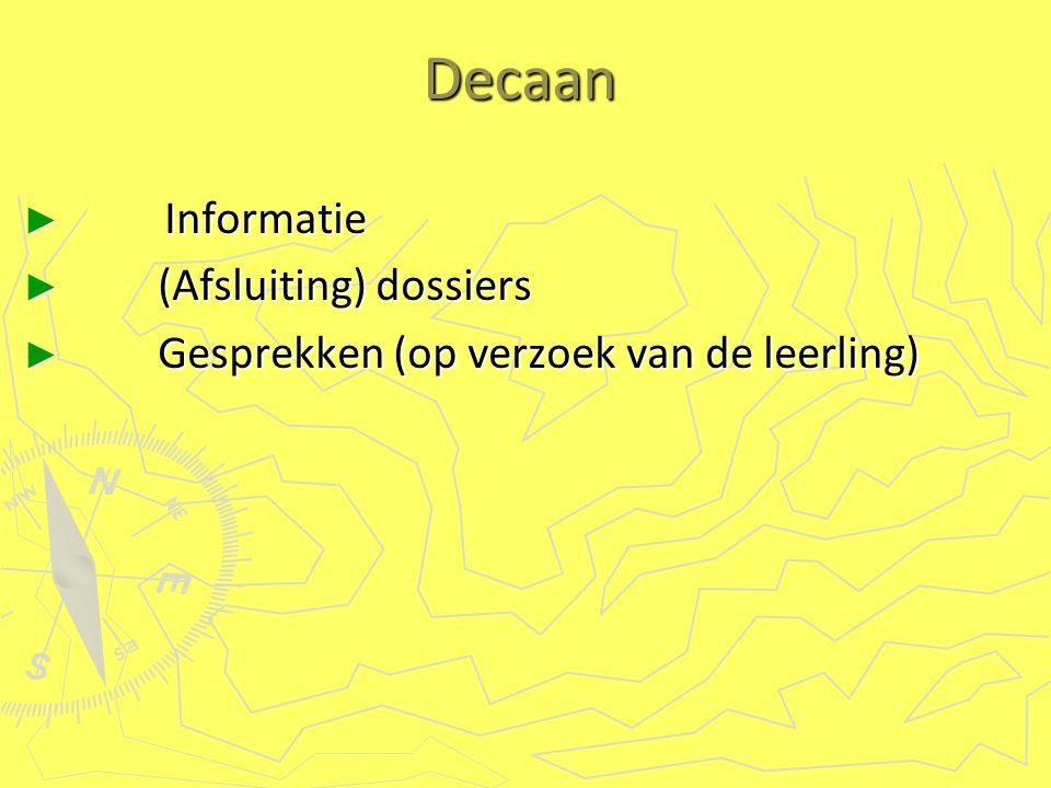 Decaan ► Informatie ► (Afsluiting) dossiers ► Gesprekken (op verzoek van de leerling)
