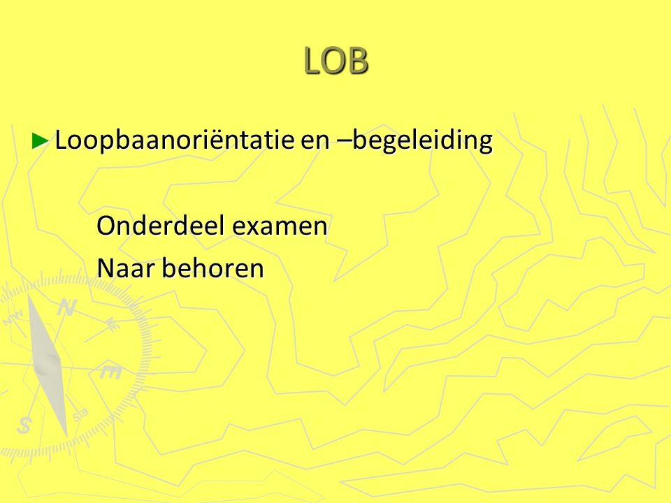LOB ► Loopbaanoriëntatie en –begeleiding Onderdeel examen Naar behoren