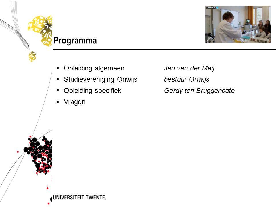 Programma  Opleiding algemeen Jan van der Meij  Studievereniging Onwijs bestuur Onwijs  Opleiding specifiek Gerdy ten Bruggencate  Vragen