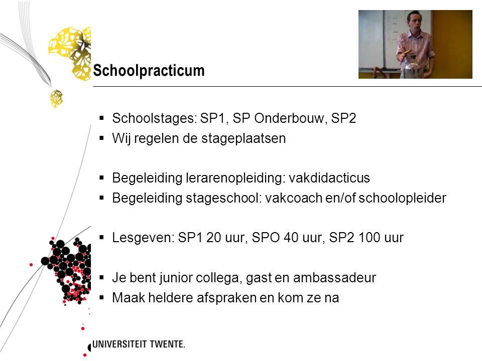 Schoolpracticum  Schoolstages: SP1, SP Onderbouw, SP2  Wij regelen de stageplaatsen  Begeleiding lerarenopleiding: vakdidacticus  Begeleiding stag