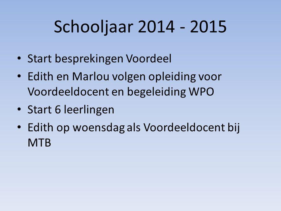 Schooljaar 2014 - 2015 Start besprekingen Voordeel Edith en Marlou volgen opleiding voor Voordeeldocent en begeleiding WPO Start 6 leerlingen Edith op woensdag als Voordeeldocent bij MTB