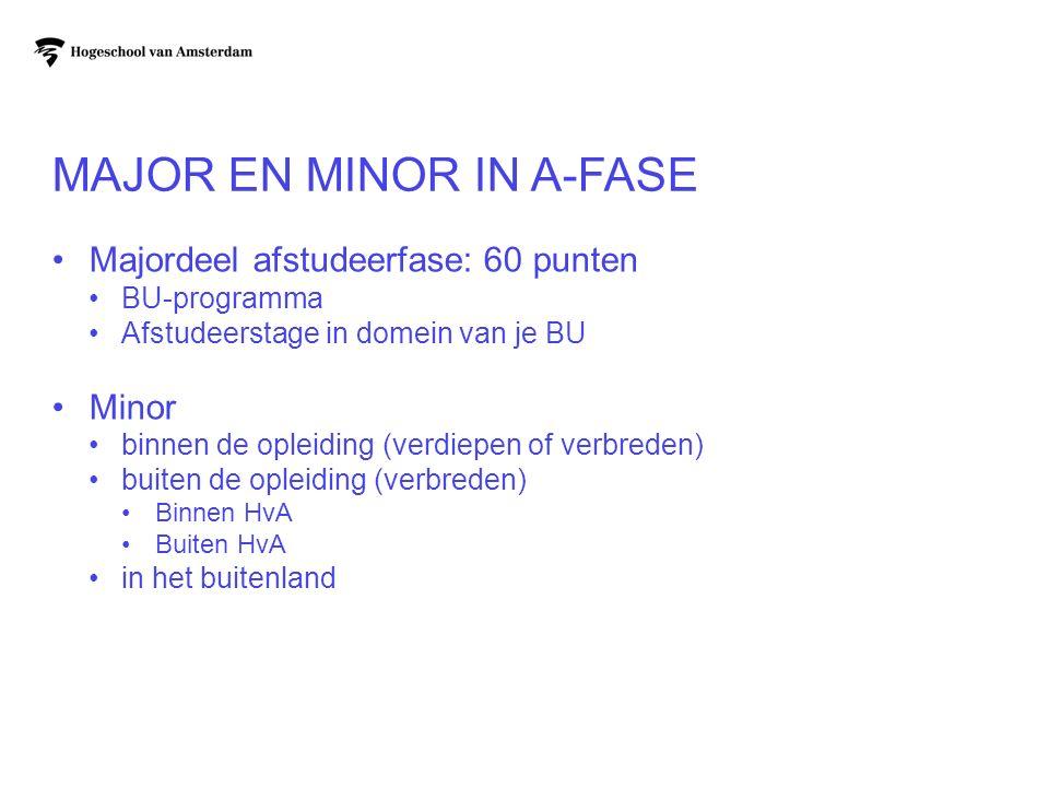 MAJOR EN MINOR IN A-FASE Majordeel afstudeerfase: 60 punten BU-programma Afstudeerstage in domein van je BU Minor binnen de opleiding (verdiepen of ve