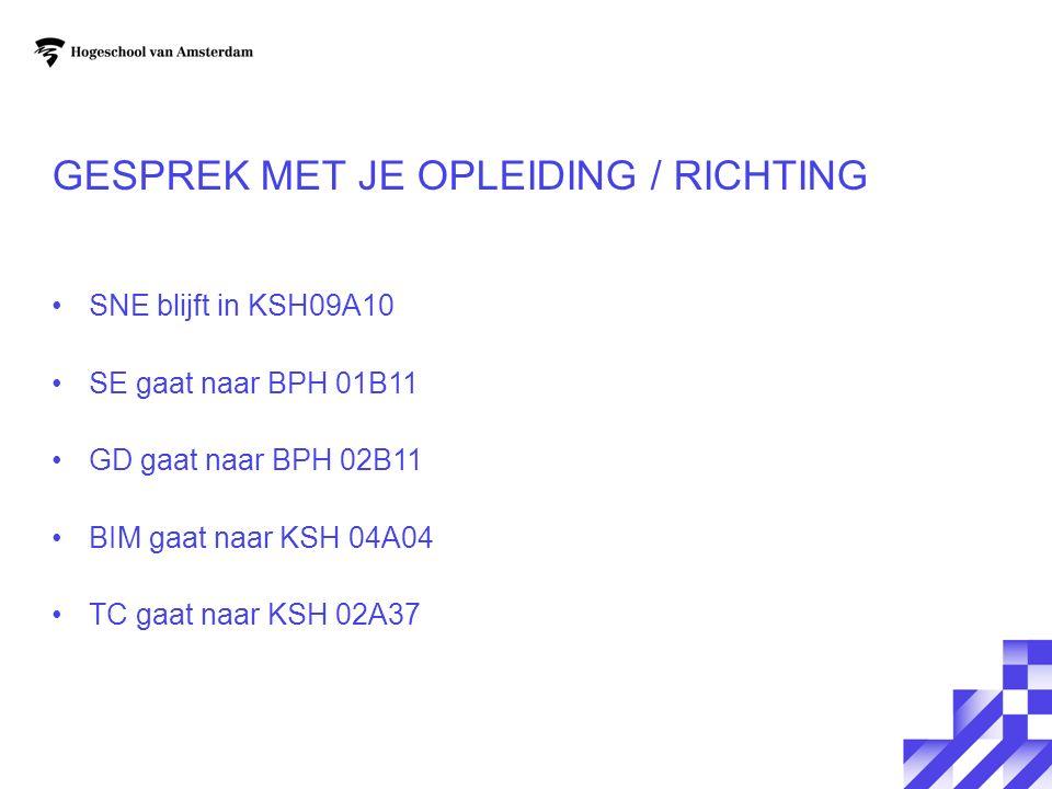GESPREK MET JE OPLEIDING / RICHTING SNE blijft in KSH09A10 SE gaat naar BPH 01B11 GD gaat naar BPH 02B11 BIM gaat naar KSH 04A04 TC gaat naar KSH 02A37