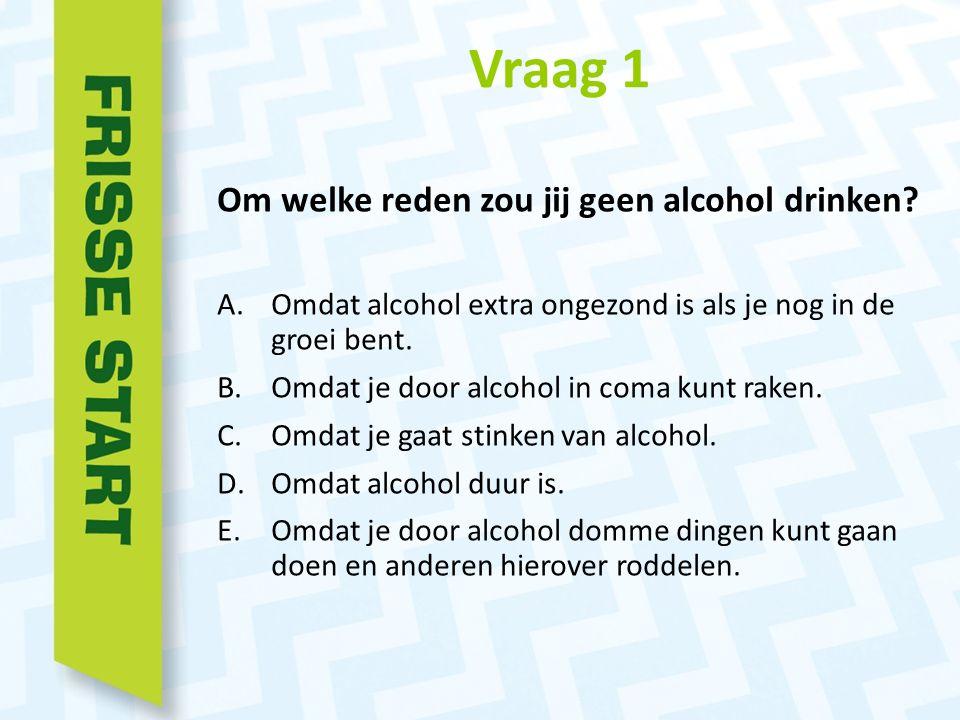 Vraag 1 Om welke reden zou jij geen alcohol drinken.