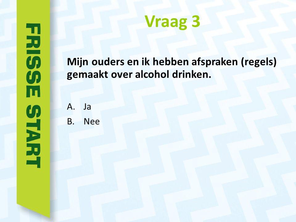 Vraag 3 Mijn ouders en ik hebben afspraken (regels) gemaakt over alcohol drinken. A.Ja B.Nee