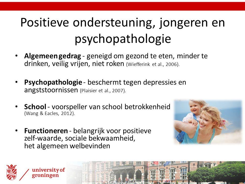 Positieve ondersteuning, jongeren en psychopathologie Algemeen gedrag - geneigd om gezond te eten, minder te drinken, veilig vrijen, niet roken (Wieff