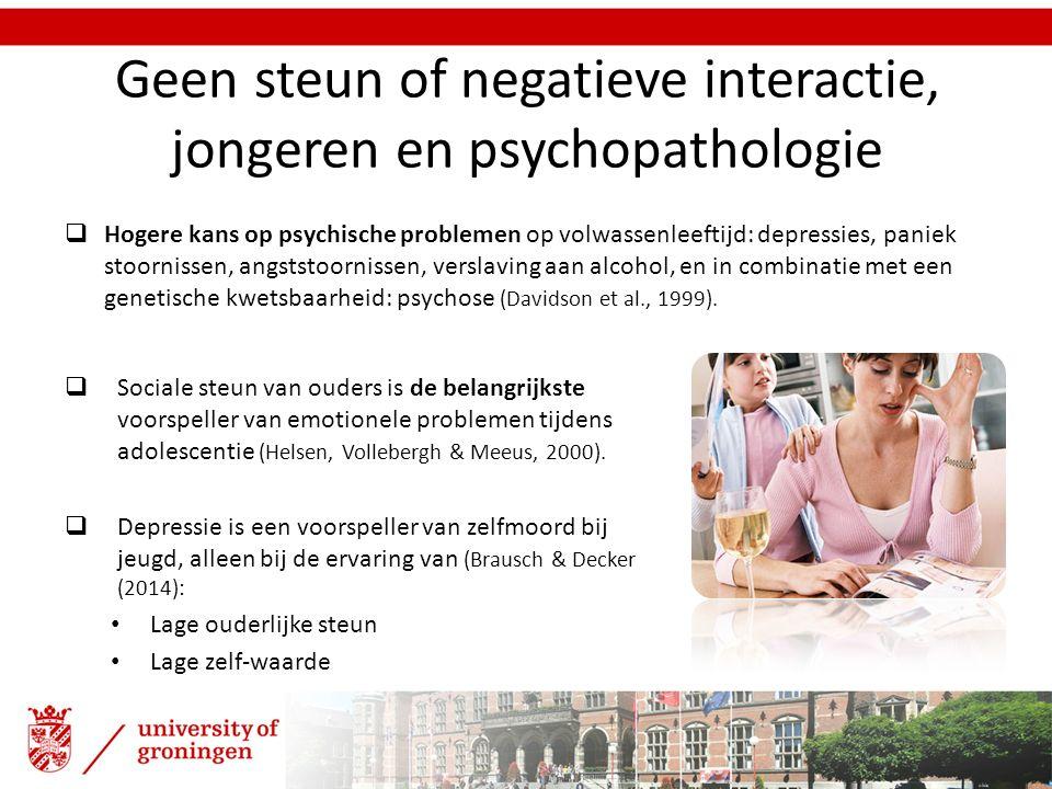 Geen steun of negatieve interactie, jongeren en psychopathologie  Sociale steun van ouders is de belangrijkste voorspeller van emotionele problemen t