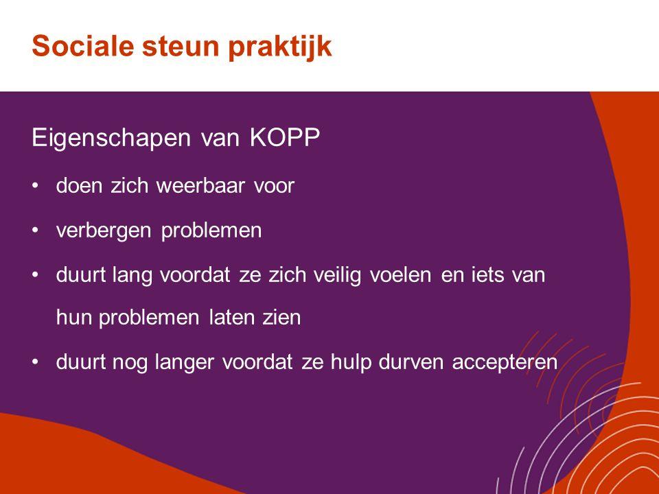 Sociale steun praktijk Eigenschapen van KOPP doen zich weerbaar voor verbergen problemen duurt lang voordat ze zich veilig voelen en iets van hun prob