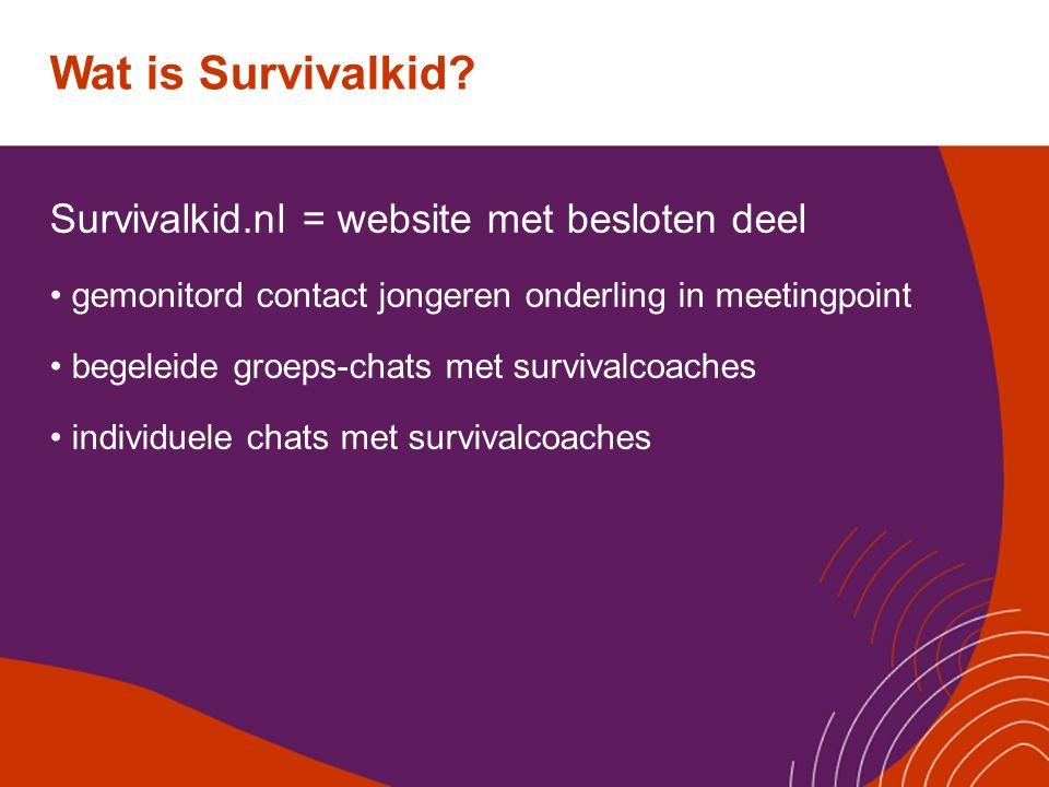 Wat is Survivalkid? Survivalkid.nl = website met besloten deel gemonitord contact jongeren onderling in meetingpoint begeleide groeps-chats met surviv
