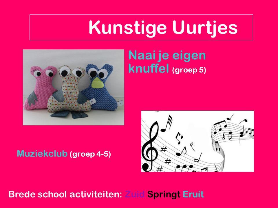 Naai je eigen knuffel (groep 5) Muziekclub (groep 4-5) Kunstige Uurtjes Brede school activiteiten: Zuid Springt Eruit