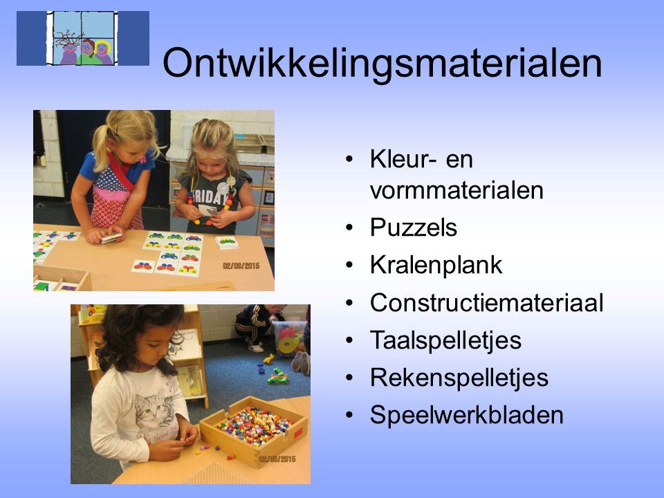 Ontwikkelingsmaterialen Kleur- en vormmaterialen Puzzels Kralenplank Constructiemateriaal Taalspelletjes Rekenspelletjes Speelwerkbladen