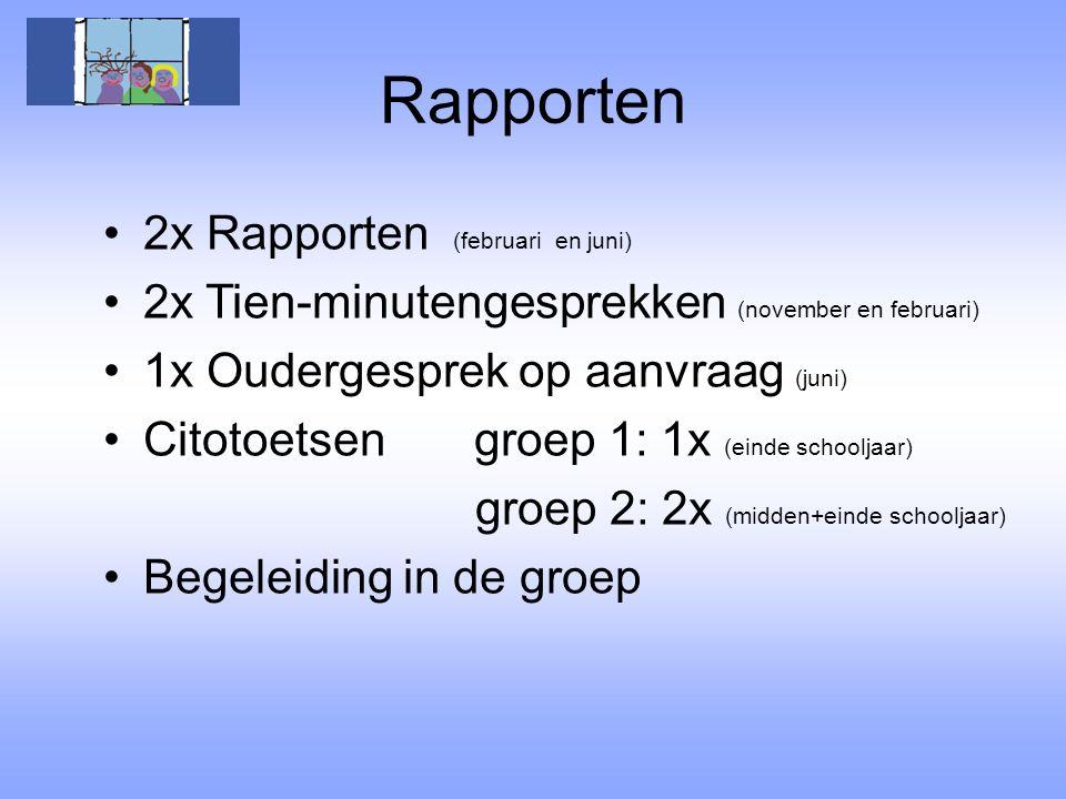 Rapporten 2x Rapporten (februari en juni) 2x Tien-minutengesprekken (november en februari) 1x Oudergesprek op aanvraag (juni) Citotoetsen groep 1: 1x