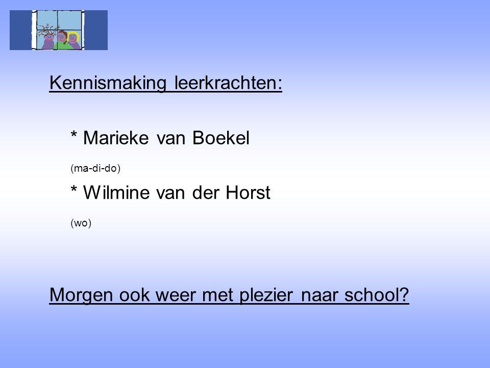 Kennismaking leerkrachten: * Marieke van Boekel (ma-di-do) * Wilmine van der Horst (wo) Morgen ook weer met plezier naar school?