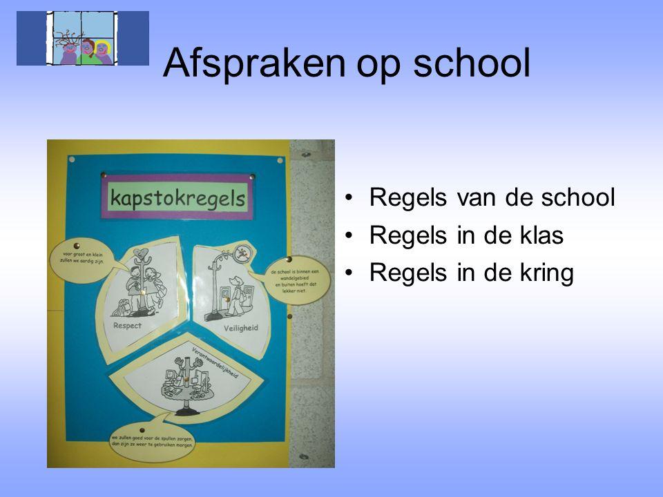 Afspraken op school Regels van de school Regels in de klas Regels in de kring