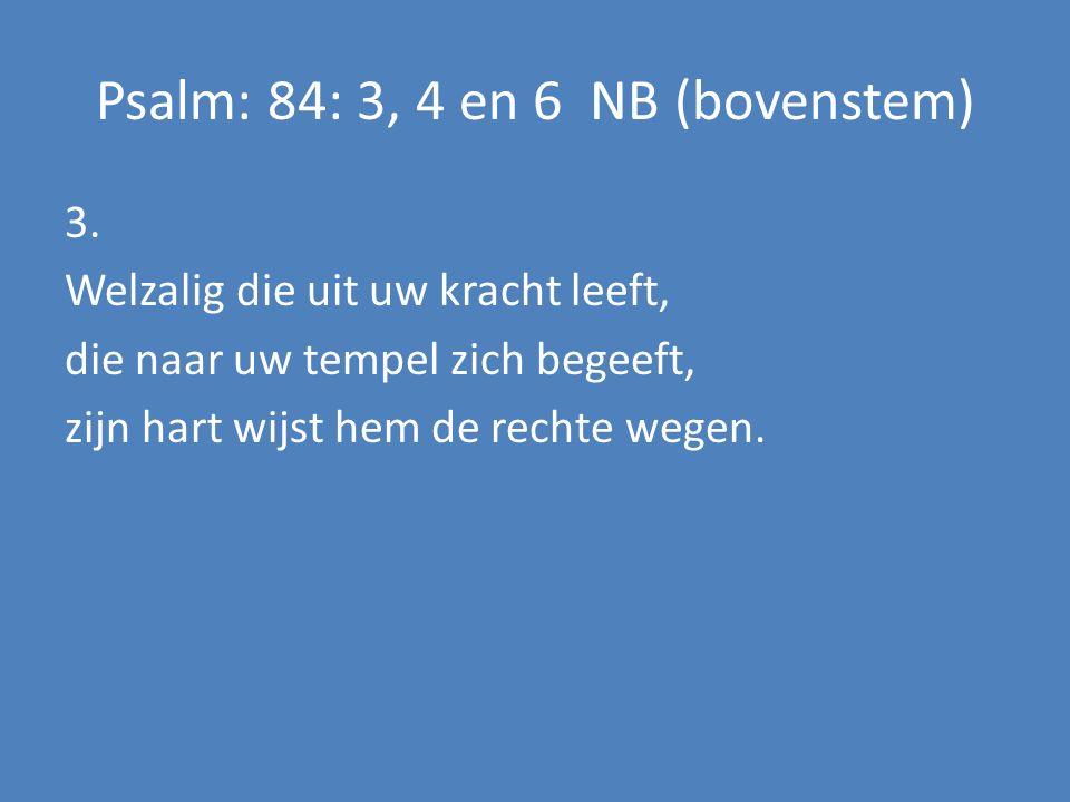 3. Welzalig die uit uw kracht leeft, die naar uw tempel zich begeeft, zijn hart wijst hem de rechte wegen. Psalm: 84: 3, 4 en 6 NB (bovenstem)