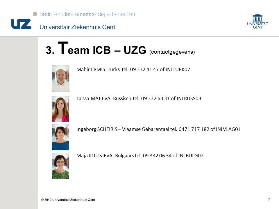 7© 2010 Universitair Ziekenhuis Gent 3. T eam ICB – UZG (contactgegevens) Mahir ERMIS- Turks tel.