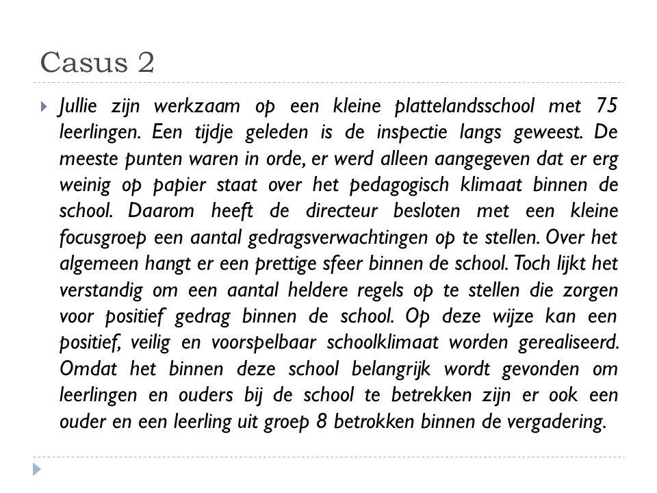 Casus 2  Jullie zijn werkzaam op een kleine plattelandsschool met 75 leerlingen. Een tijdje geleden is de inspectie langs geweest. De meeste punten w