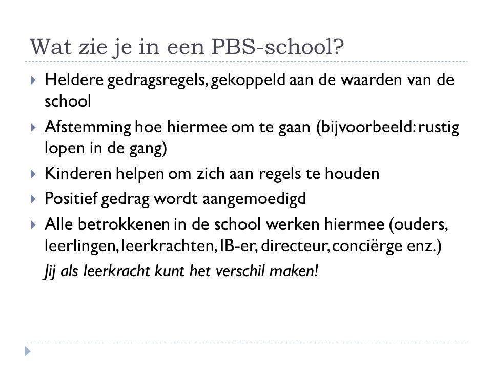 Wat zie je in een PBS-school?  Heldere gedragsregels, gekoppeld aan de waarden van de school  Afstemming hoe hiermee om te gaan (bijvoorbeeld: rusti
