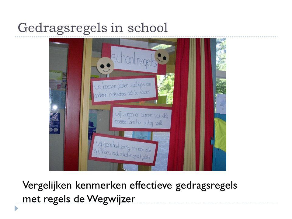 Gedragsregels in school Vergelijken kenmerken effectieve gedragsregels met regels de Wegwijzer