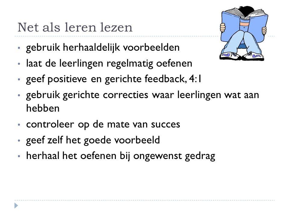 Net als leren lezen gebruik herhaaldelijk voorbeelden laat de leerlingen regelmatig oefenen geef positieve en gerichte feedback, 4:1 gebruik gerichte