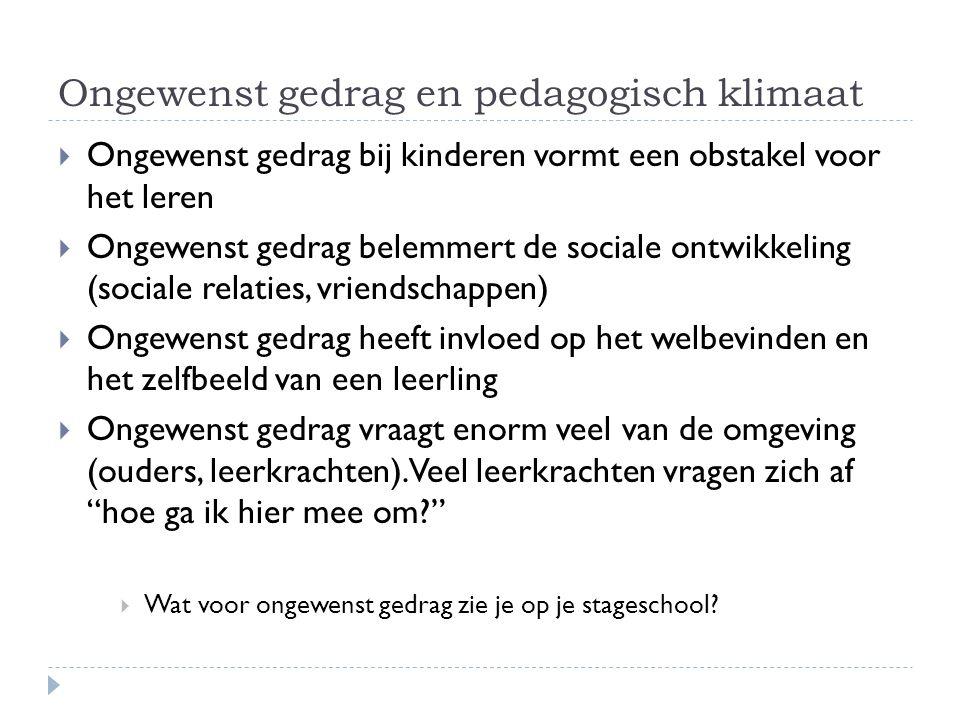Ongewenst gedrag en pedagogisch klimaat  Ongewenst gedrag bij kinderen vormt een obstakel voor het leren  Ongewenst gedrag belemmert de sociale ontw
