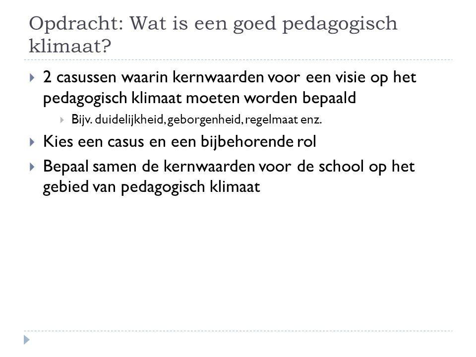 Opdracht: Wat is een goed pedagogisch klimaat?  2 casussen waarin kernwaarden voor een visie op het pedagogisch klimaat moeten worden bepaald  Bijv.
