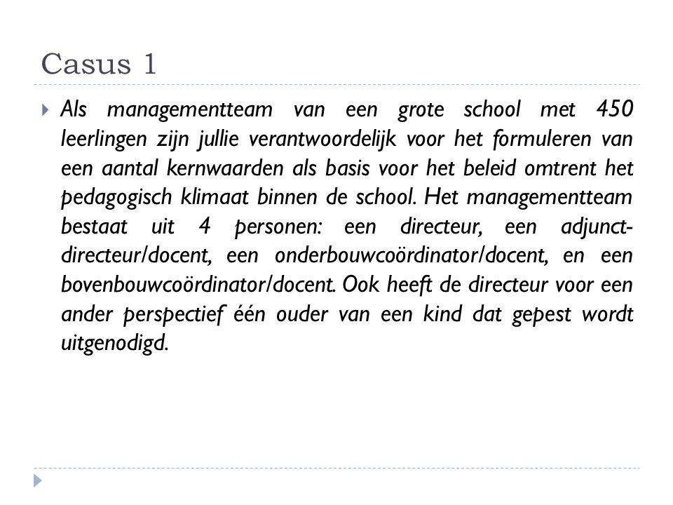 Casus 1  Als managementteam van een grote school met 450 leerlingen zijn jullie verantwoordelijk voor het formuleren van een aantal kernwaarden als b