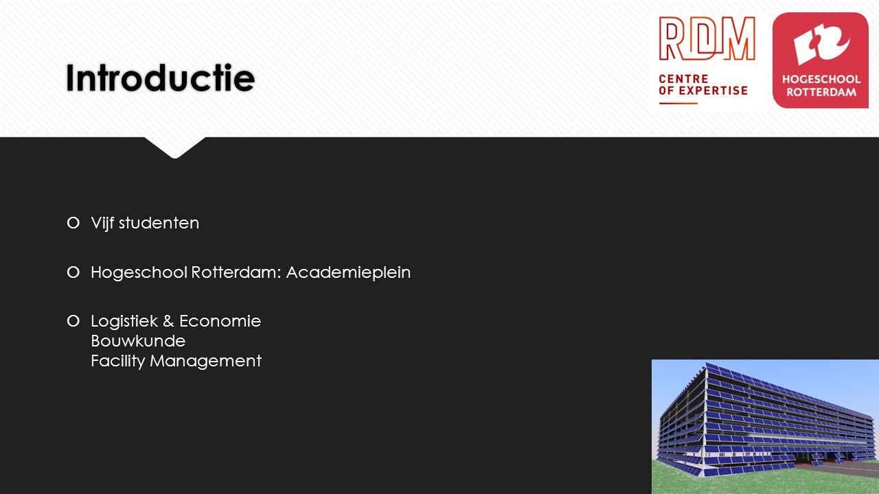 Introductie  Vijf studenten  Hogeschool Rotterdam: Academieplein  Logistiek & Economie Bouwkunde Facility Management  Vijf studenten  Hogeschool