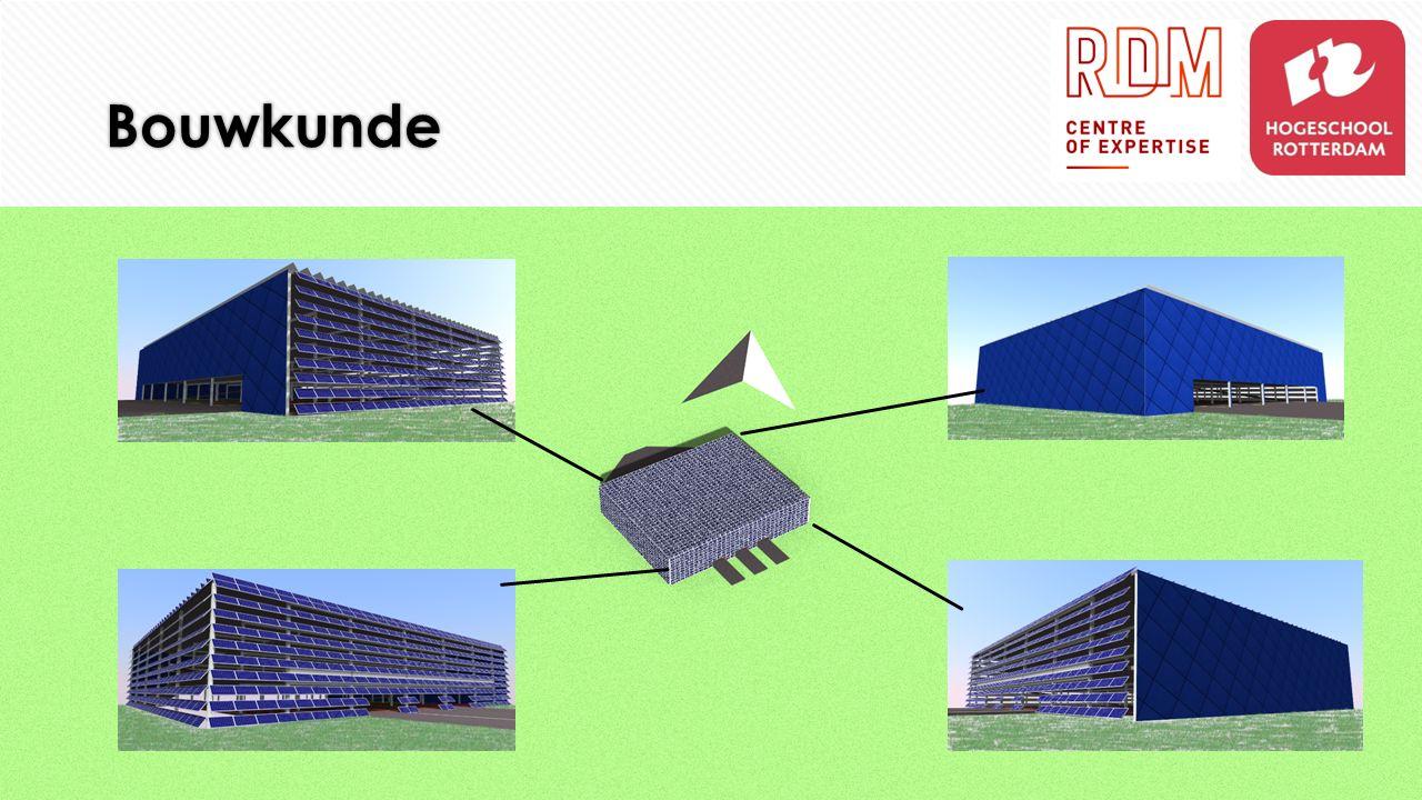 Bouwkunde  Afmetingen van de parkeergarage:  Totale afmetingen gebouw: 61,0 m x 49,2 m (L x b)  Totale hoogte gebouw: 11,4 m  Totaal aantal bouwlagen: 3  Afmeting parkeerplaats: 3,0 m x 1,6 m (L x b)  Bufferzone parkeerplaats: 0,3 m  Afmeting constructie strook: 0,3 m breed  Afmeting constructie: 0,3 m x 0,3 m beton  H.O.H.