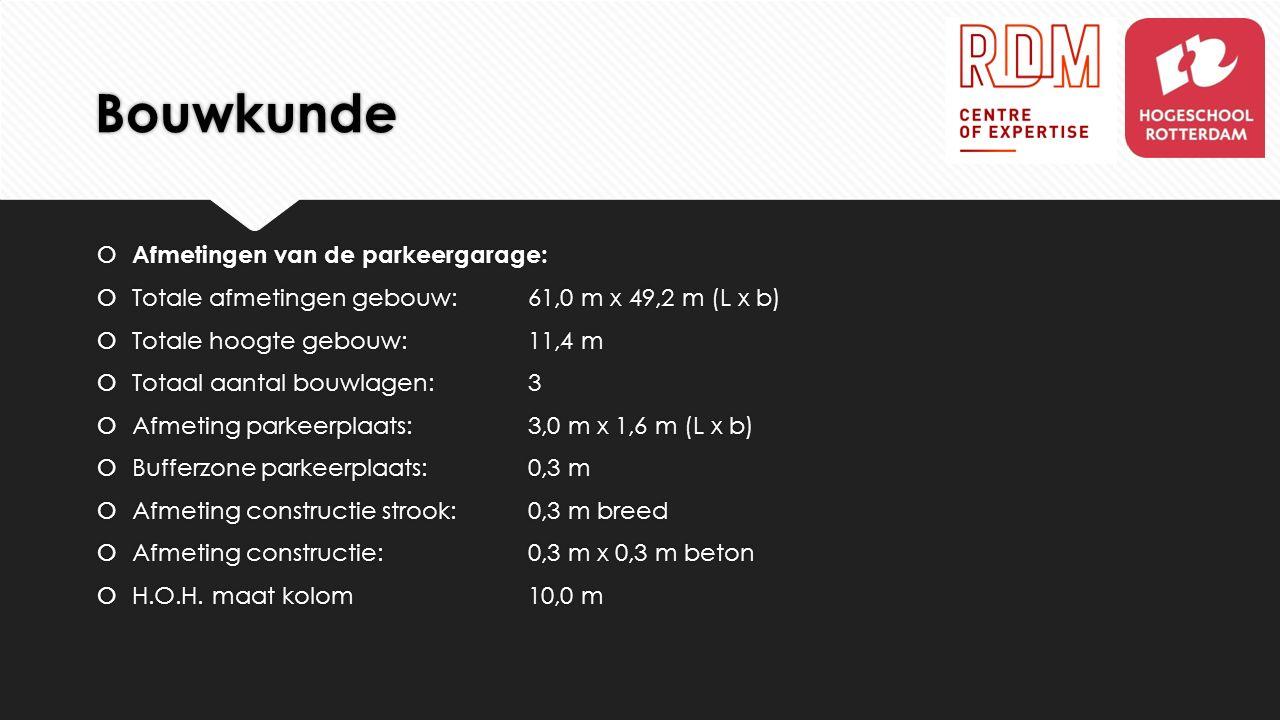 Bouwkunde  Afmetingen van de parkeergarage:  Totale afmetingen gebouw: 61,0 m x 49,2 m (L x b)  Totale hoogte gebouw: 11,4 m  Totaal aantal bouwla