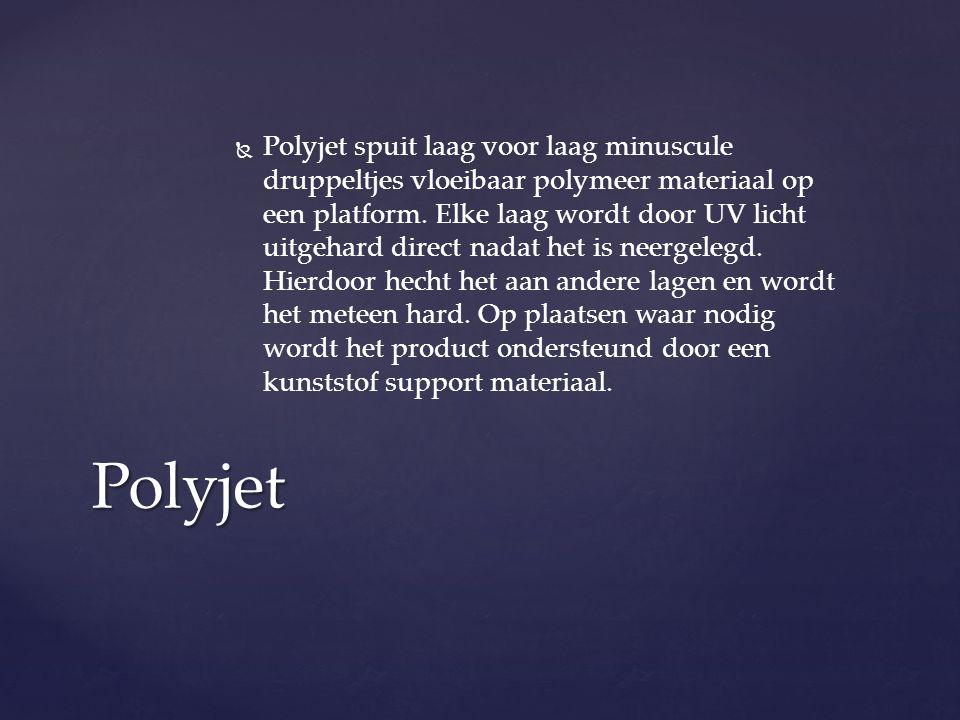   Polyjet spuit laag voor laag minuscule druppeltjes vloeibaar polymeer materiaal op een platform.