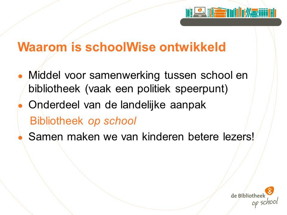 Waarom is schoolWise ontwikkeld ● Middel voor samenwerking tussen school en bibliotheek (vaak een politiek speerpunt) ● Onderdeel van de landelijke aanpak Bibliotheek op school ● Samen maken we van kinderen betere lezers!