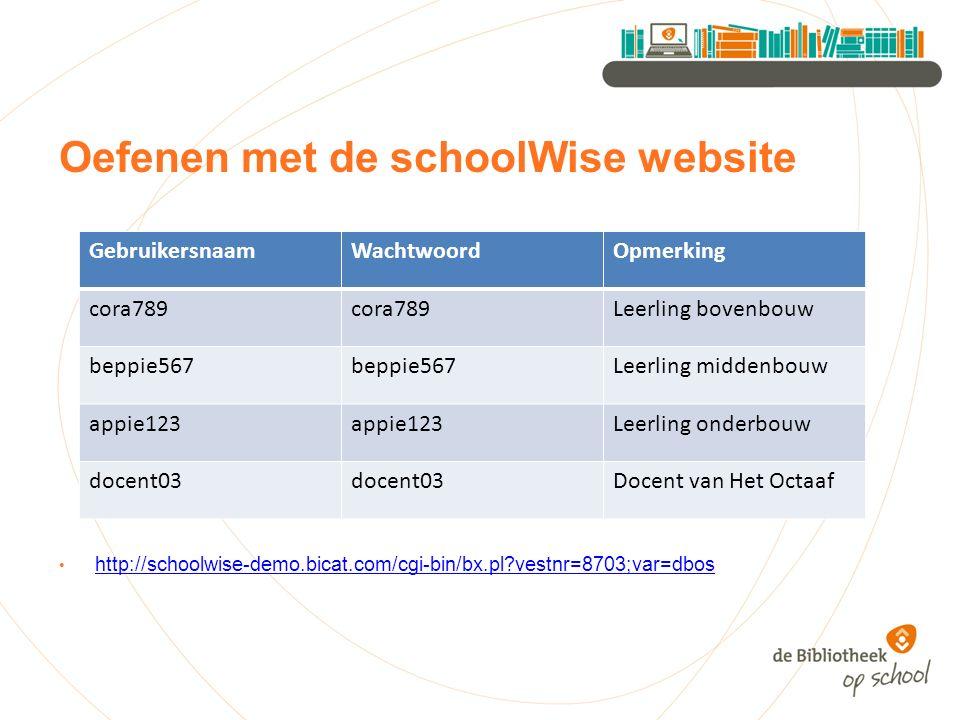 Oefenen met de schoolWise website http://schoolwise-demo.bicat.com/cgi-bin/bx.pl?vestnr=8703;var=dbos GebruikersnaamWachtwoordOpmerking cora789 Leerli