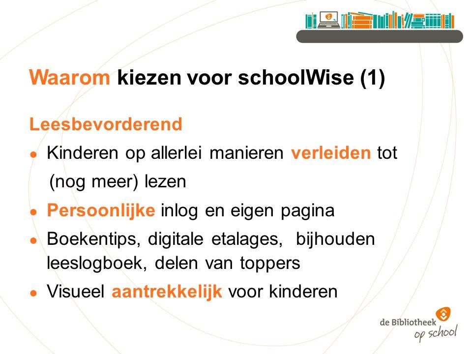 Waarom kiezen voor schoolWise (1) Leesbevorderend ● Kinderen op allerlei manieren verleiden tot (nog meer) lezen ● Persoonlijke inlog en eigen pagina