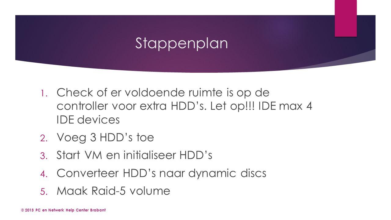 Stappenplan 1. Check of er voldoende ruimte is op de controller voor extra HDD's.