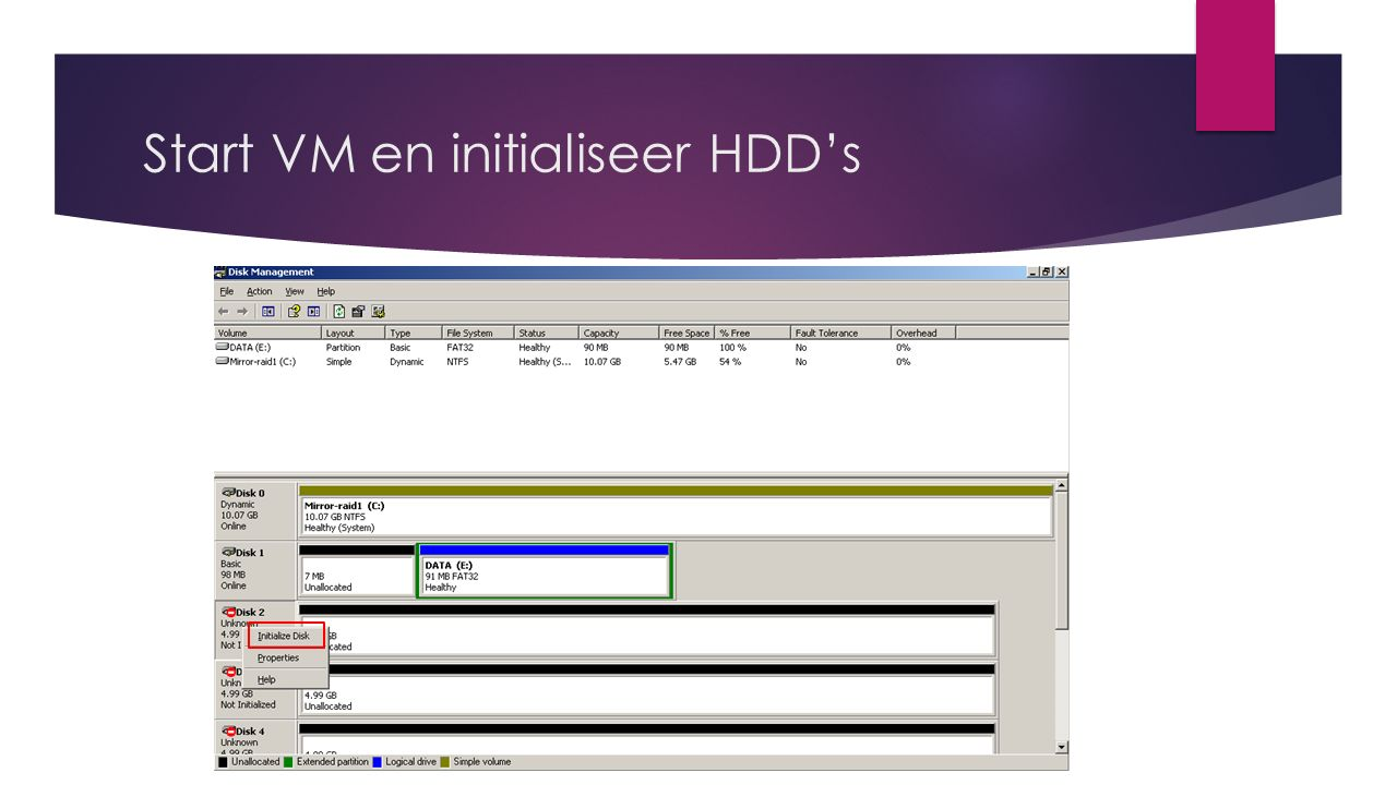 Start VM en initialiseer HDD's
