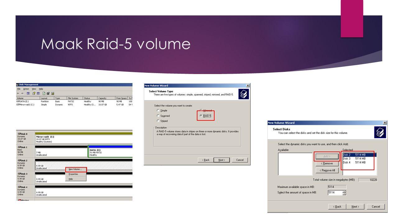 Maak Raid-5 volume